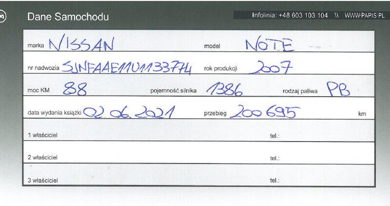 NISSAN NOTE I MIKROVAN 1.4 I 16V 88KM Polska Marża